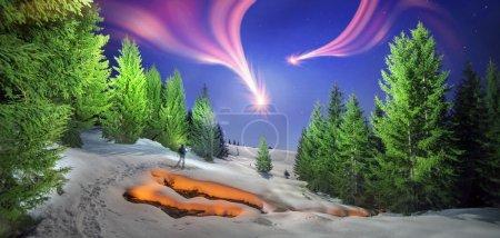 walk with fire in Carpathian forest