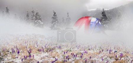 snowy mountain tent