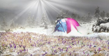snowy mountain tent