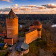 Aaerial view to the Turaida castle and river Gauja...