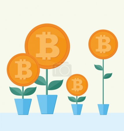 Photo for Vector Bitcoin symbol with flower growing. cryptography illustration - Royalty Free Image