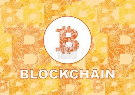 Photo for Bitcoin symbol and word blockchain on orange background - Royalty Free Image