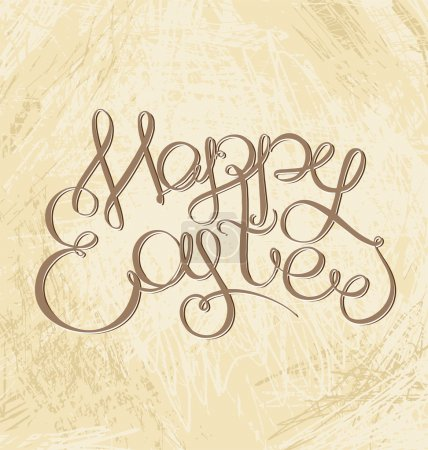 Happy Easter han drawn lettering headline on grange texture. Typ