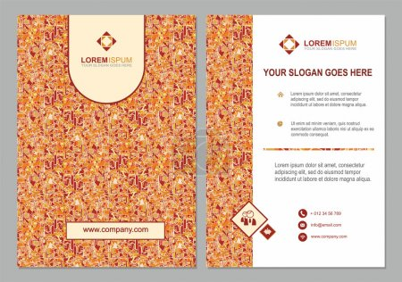 brochure template with abstract polygonal pattern background.