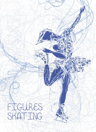 Vector figure skating silhouette on abstract background