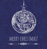 Přání s Vánoční dekorace v modré samless poz