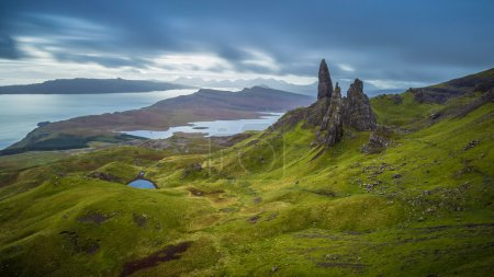 Old man of Storr, Scottish highlands in a cloudy morning, Scotland, UK