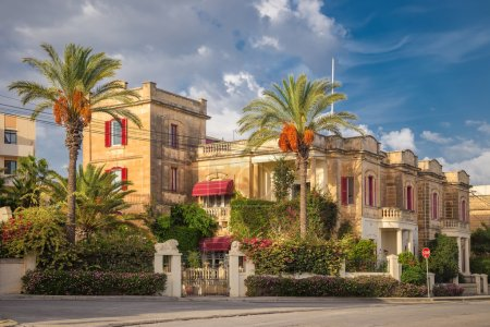 Traditional nice building with palm trees in Valletta - Malta