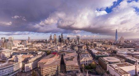 Panoramic skyline of London with