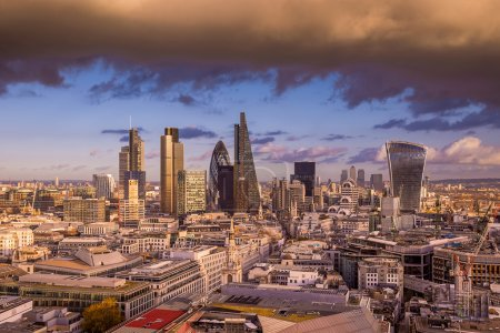 Dramatic clouds at sunset over London's business district - Panoramic skyline of London - UK
