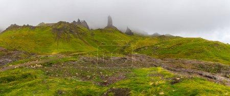 The Old Man of Storr in heavy fog - Isle of Skye, Scotland, UK