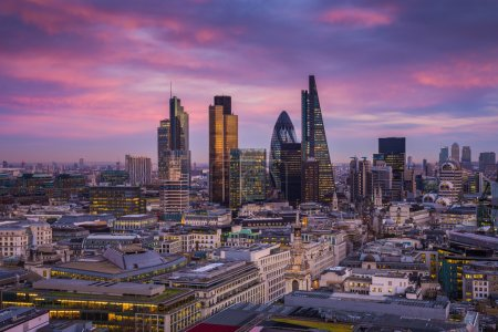 Bank district of central London at magic hour after sunset with office buildings and beautiful sky - London, UK