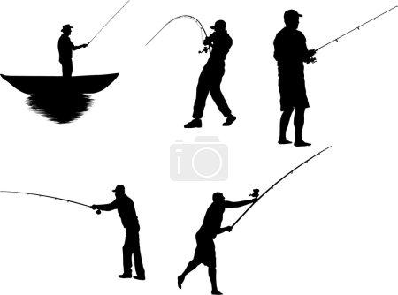 Set of fisherman silhouette