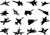 Set of military aircraft silhouette