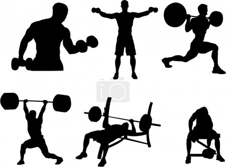 Set of Body building silhouette