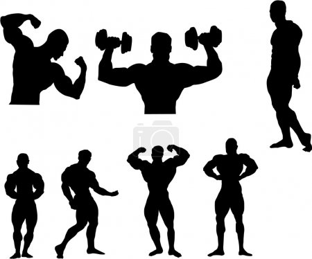 The set of Body building silhouette