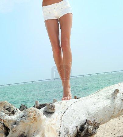 woman legs in balance on a tree