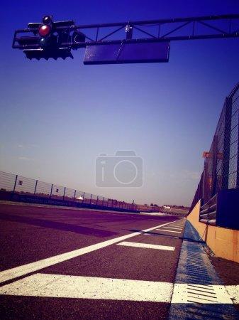 multicolor box in race track