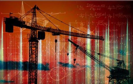 crane building  the smart city - concept
