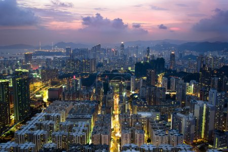 Photo for Bright skyline after sunset in Hong Kong - Royalty Free Image