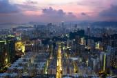 """Постер, картина, фотообои """"Закат в старой части города Hong Kong с крыши"""""""