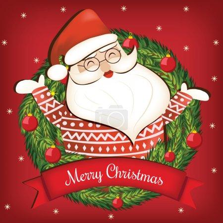 Cartoon Christmas card with Santa Claus, Merry Christmas lettering and Christmas wreath. Vector illustration