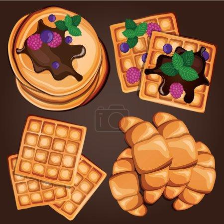 Illustration pour Savoureux petit déjeuner cartoon avec crêpes, gaufres et croissants. Illustration vectorielle - image libre de droit