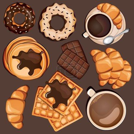 Illustration pour Bonbons de dessin animé avec gaufres belges, chocolat, café, croissant, cappuccino et crêpes. Illustration vectorielle - image libre de droit