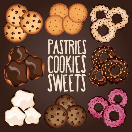 Illustration pour Ensemble de biscuits aux pépites de chocolat, beignets, biscuits au chocolat. Illustration vectorielle - image libre de droit