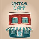"""Постер, картина, фотообои """"Векторные иллюстрации Симпатичные кафе blue центрального здания"""""""