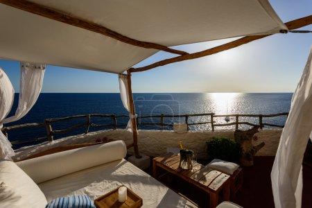 restaurant terrace on sea in Spain