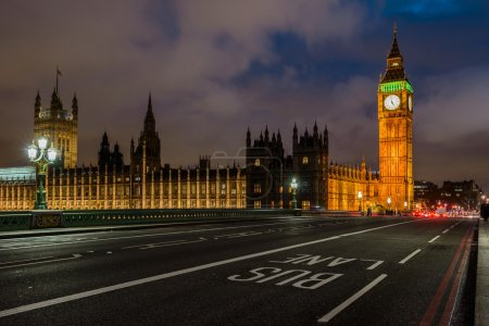 Photo for Illuminated Westminster palace and Big Ben at night, London - Royalty Free Image