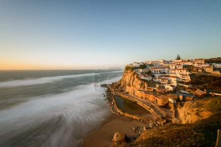 Photo for Azenhas do Mar, Portugal coastal town panorama at dusk - Royalty Free Image