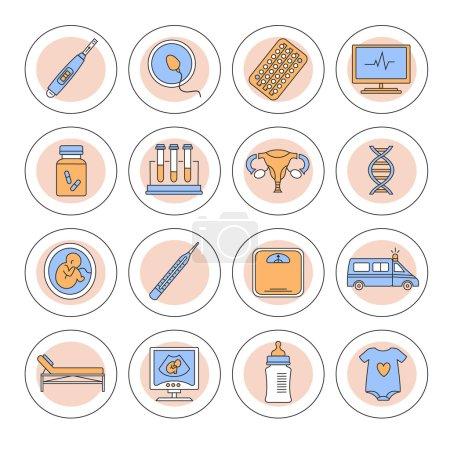 Illustration for Flat line icon set - Royalty Free Image
