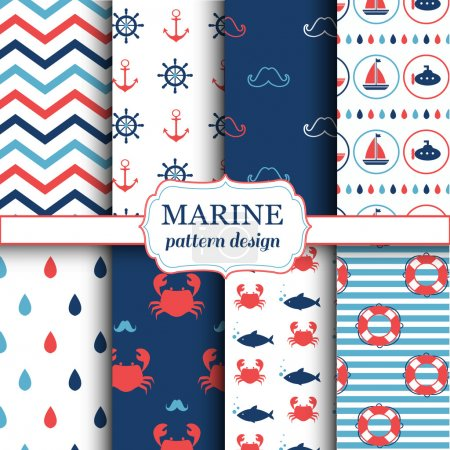 Marine seamless patterns for wallpaper, scrapbook and other design