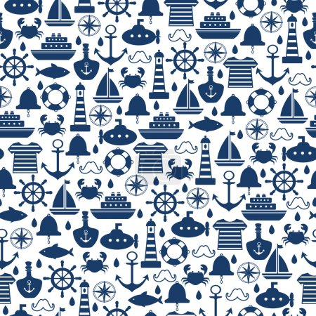 Marine seamless pattern for wallpaper, scrapbook and other design