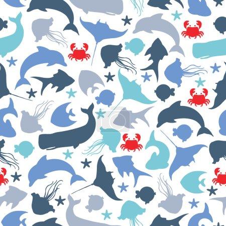 Illustration pour Modèle sans couture avec des poissons sous-marins - image libre de droit