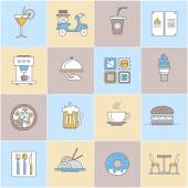 Thin line icons set Icons for restaurant fast food cafe and food delivery