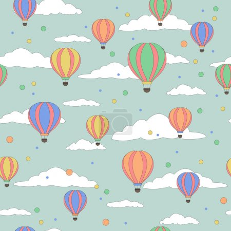 Vector illustration of colorful hot air balloons