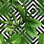 Print summer exotic jungle plant tropical palm lea...