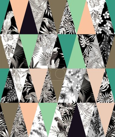 Illustration for Trendy tropical patchwork illustrated floral vector tropical banana leaves, hibiscus flower, lilies, plumeria, bird parrot. Print poster wallpaper collage hawaii jungle seamless vector pattern - Royalty Free Image