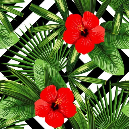 Illustration pour Imprimer été exotique jungle plante tropicale feuilles de palmier et fleur hibiscus rouge. Motif, vecteur floral sans couture sur le fond géométrique blanc noir. Nature fond d'écran . - image libre de droit