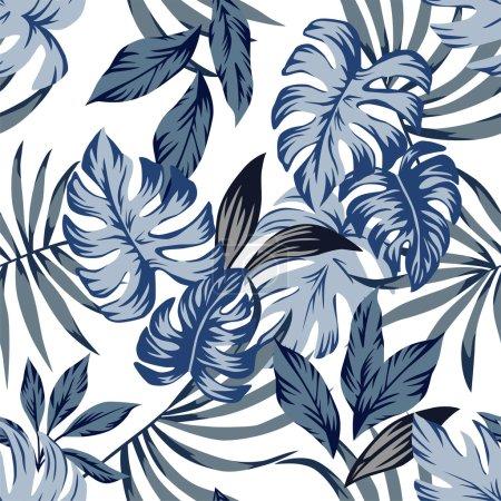 Illustration pour Tropic exotic palm leaves seamless vector pattern in a trendy blue vintage style. Imprimer nature mode illustration peinture floral jungle papier peint sur un fond blanc - image libre de droit