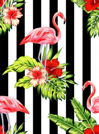 flamingo and hibiscus tropical pattern, striped background