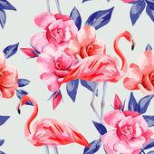 rose and pink flamingos