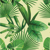 Tropic print summer exotic jungle plant tropical palm leaf and branch Pattern seamless floral vector on yellow green background Nature flower wallpaper