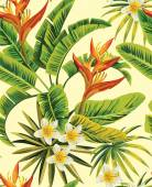 Tropical exotic plumeria flowers with green leaves of palm on a yellow background Seamless pattern fashion vintage summer wallpaper