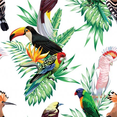 tropical birds and palm leaves seamless background