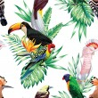 Tropical bird floral vector pattern...