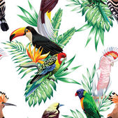 Tropical bird floral vector pattern